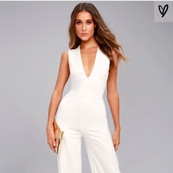 ec98e17bc6d Lulu s Pants - LuLu s Thinking Out Loud White Backless Jumpsuit